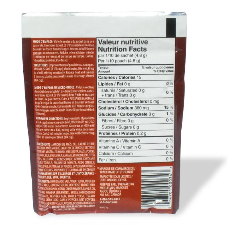 Sauce poutine St-Hubert x5 valeur nutritive